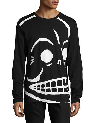 Cheap Monday Skull Print Linen Shirt-BLACK-Small