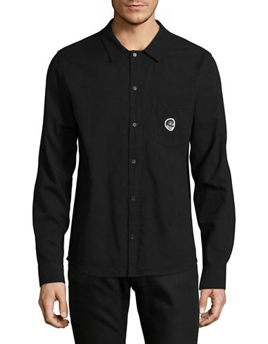Cheap Monday Skull Badge Sport Shirt-BLACK-Large