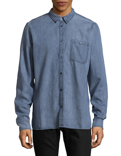 Cheap Monday Give Denim Sport Shirt-BLUE-Large