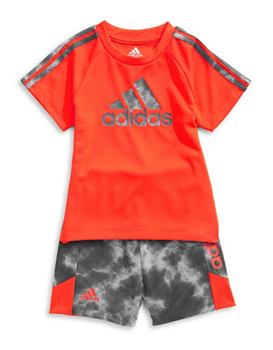 Adidas Smoke Screen Short Set-ORANGE-9 Months