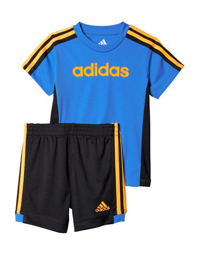 Adidas Two-Piece Hat Trick Striped Tee and Shorts Set-BLUE-6 Months