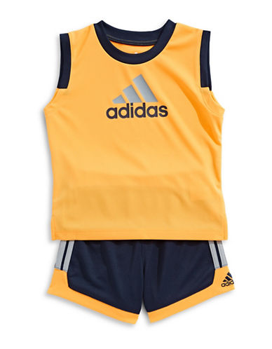 Adidas Two-Piece Top and Basketball Shorts Set-YELLOW-9 Months