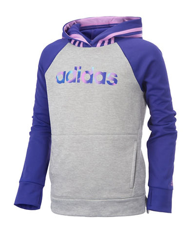 Adidas Colourblock Hooded Pullover-PURPLE-Medium