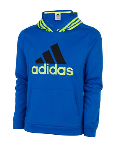 Adidas Classic Fleece Hooded Pullover-BLUE-Large