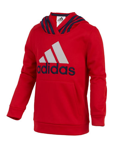 Adidas Classic Fleece Hooded Pullover-RED-X-Large