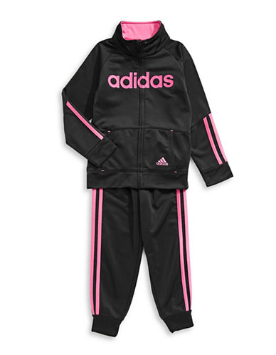 Adidas Two-Piece Striped Jacket and Pants Set-BLACK-2T