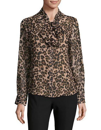 Tommy Hilfiger Printed Long Sleeve Blouse-BROWN-Large