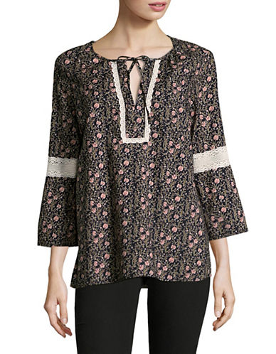 Tommy Hilfiger Printed Cotton Blouse-MIDNIGHT-X-Small