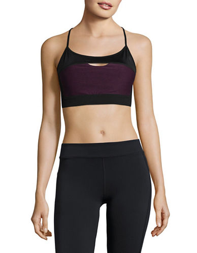 Calvin Klein Performance Stretch-Cotton Logo Sports Bra-PURPLE-X-Large