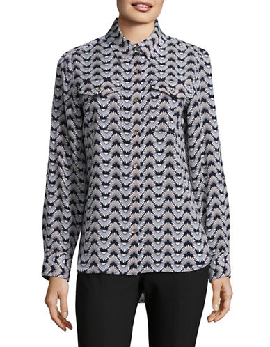Tommy Hilfiger Printed Long Sleeve Blouse-BLUE-X-Small