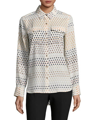 Tommy Hilfiger Printed Long Sleeve Blouse-WHITE-Medium