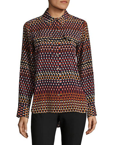 Tommy Hilfiger Printed Long Sleeve Blouse-RED-Medium