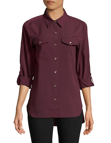 Tommy Hilfiger Roll Sleeve Blouse-WINE-Medium