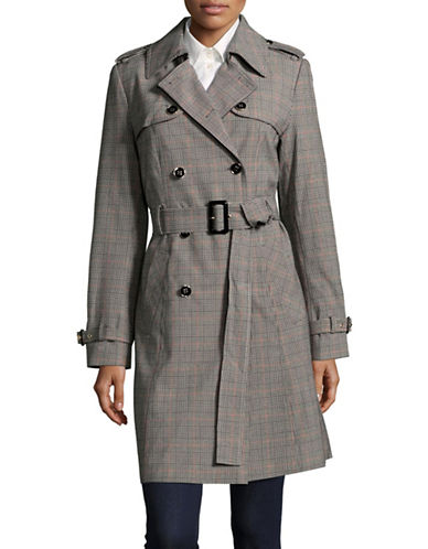 Tommy Hilfiger Patterned Check Trench Coat-GREY-Small