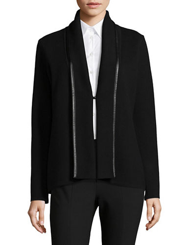 Calvin Klein Faux Leather Trim Cardigan-BLACK-X-Small