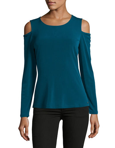 Calvin Klein Long Sleeve Cold Shoulder Top-GREEN-X-Small