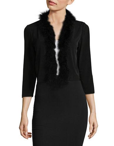 Calvin Klein Feather-Trim Shrug-BLACK-Large