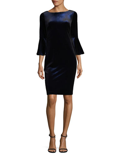 Calvin Klein Glitter Velvet Bell Sleeve Dress-BLUE-10