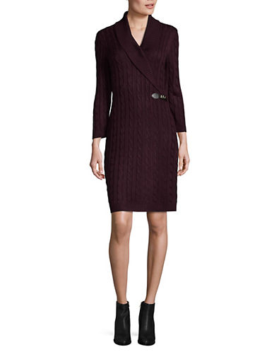 Calvin Klein Cable Knit Sweater Dress-PURPLE-Small