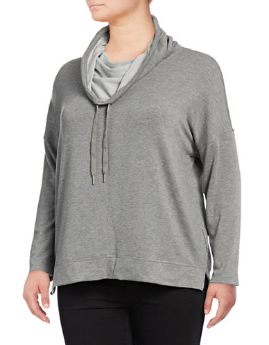 Calvin Klein Performance Plus Heathered Cowl Neck Pullover-GREY-1X 89706192_GREY_1X