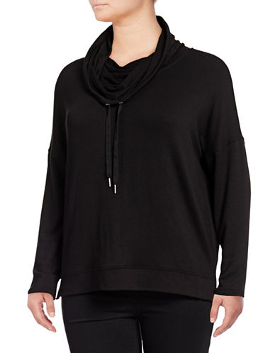 Calvin Klein Performance Plus Heathered Cowl Neck Pullover-BLACK-1X 89706189_BLACK_1X