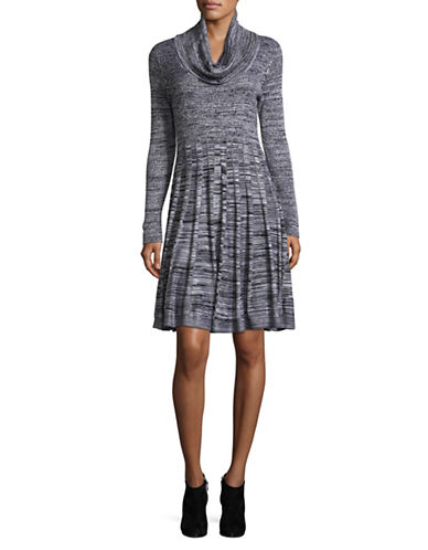 Calvin Klein Cowl-Neck Sweater Dress-BLACK/WHITE-Large