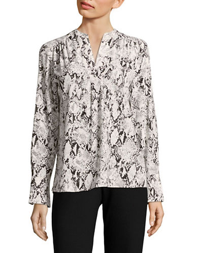 Calvin Klein Printed V-Neck Top-BLACK MULTI-Medium