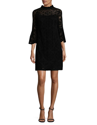 Calvin Klein Flocked Lace Dress-BLACK-2