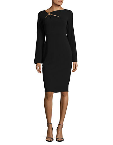 Calvin Klein Buckle Bell-Sleeve Sheath Dress-BLACK-8