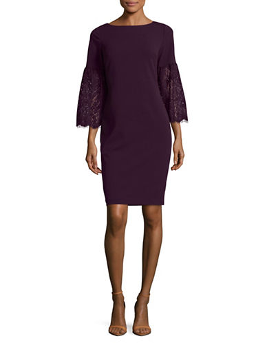 Calvin Klein Lace Bell-Sleeve Sheath Dress-PURPLE-14