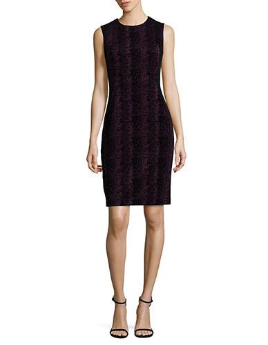 Calvin Klein Sleeveless Flocked Sheath Dress-PURPLE/BLACK-8