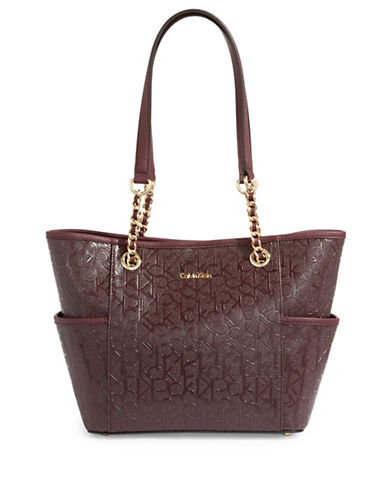 Calvin Klein Faux Leather Monogram Tote-BROWN-One Size