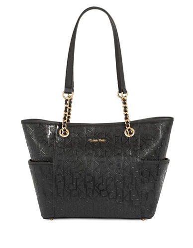 Calvin Klein Faux Leather Monogram Tote-BLACK-One Size