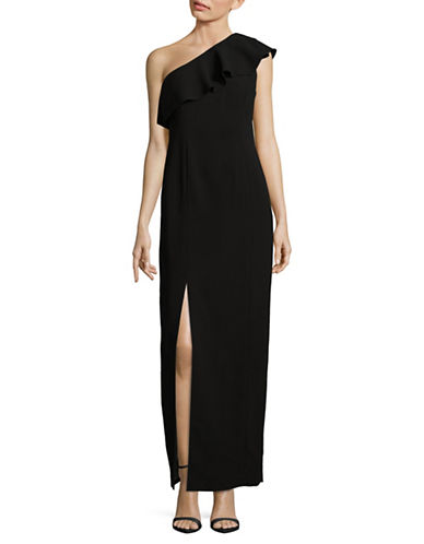 Calvin Klein Ruffled One-Shoulder Evening Gown-BLACK-14