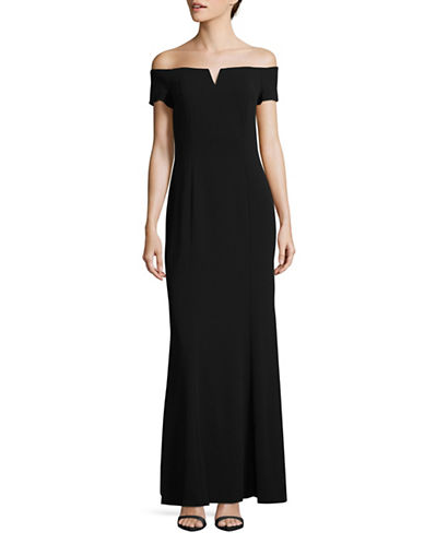 Calvin Klein Classic Off-The-Shoulder Gown-BLACK-2
