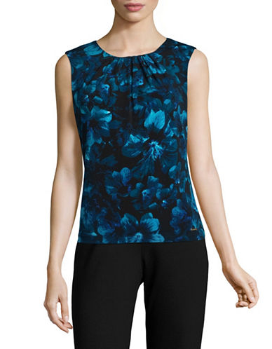 Calvin Klein Printed Pleated Neck Camisole-BLUE-Large