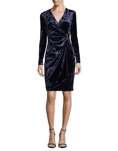 Calvin Klein Crushed Velvet Wrap Dress-BLUE-8