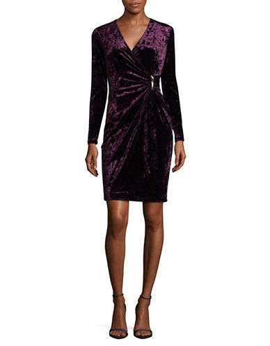 Calvin Klein Crushed Velvet Wrap Dress-PURPLE-8