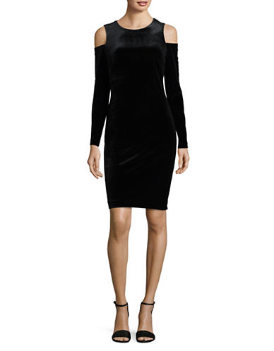 Calvin Klein Cold Shoulder Velvet Sheath Dress-BLACK-8