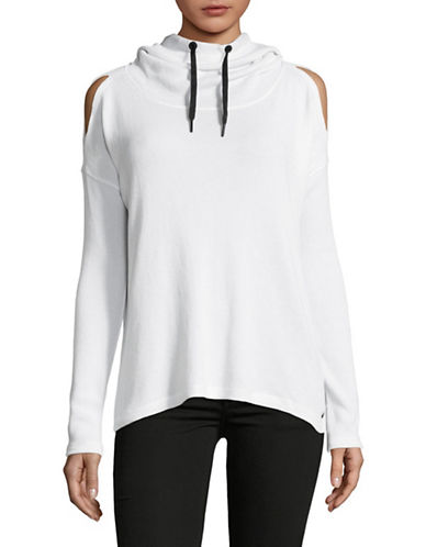 Calvin Klein Performance Waffle Knit Hoodie-NATURAL-Large