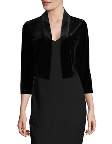 Calvin Klein Basic Velvet Shrug Cardigan-BLACK-Small