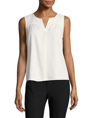 Calvin Klein Split Neck Top-WHITE-Medium