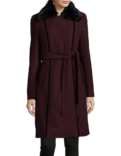 Calvin Klein Faux Fur Wool-Blend Wrap Coat-BEET-Small