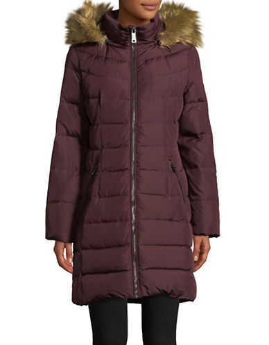 Calvin Klein Faux Fur-Trimmed Midi Down Jacket-RED-Large 89467242_RED_Large