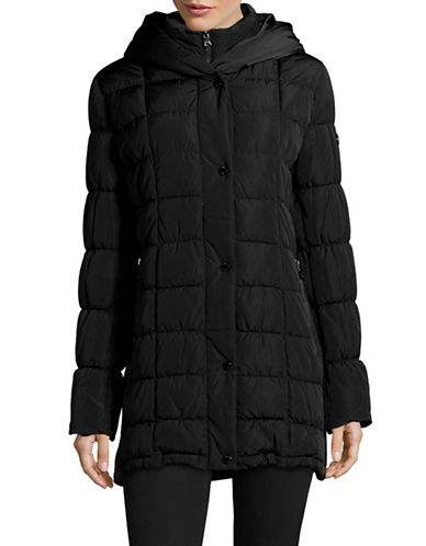 Calvin Klein Classic Hooded Quilt Coat-BLACK-Large