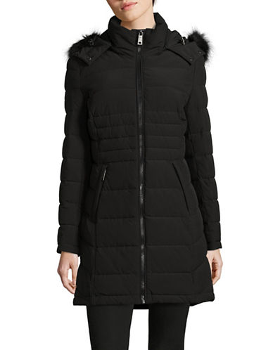 Calvin Klein Faux Fur Trimmed Down Puffer Coat-OXFORD-Medium