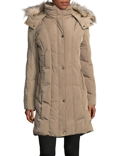 Calvin Klein Faux Fur Trim Down Coat-TAWNY OWL-X-Small