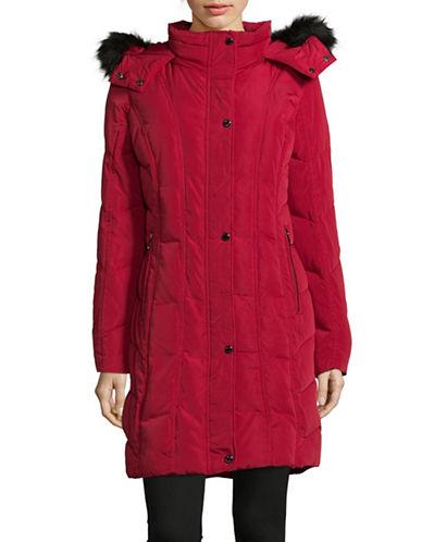 Calvin Klein Faux Fur Trim Down Coat-CRIMSON-X-Small