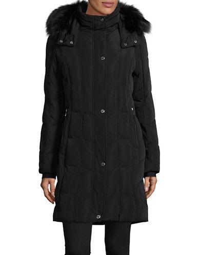 Calvin Klein Faux Fur Trim Down Coat-BLACK-Small