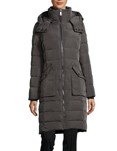 Calvin Klein Long Hooded Puffer Jacket-TITAN-Medium